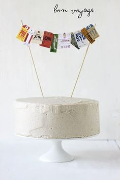 sweet idea for decorating a going away cake! (Snickerdoodle Cake with Brown Sugar Buttercream)