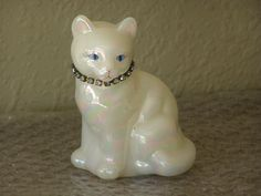 Fenton Art Glass Iridescent Calendar Cat Blue Rhinestone Collar Signed  20.00