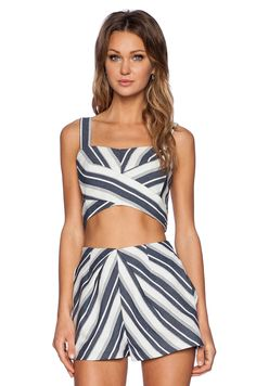 Line & Dot Dimension Crop Top in Blue Stripe Effect | REVOLVE