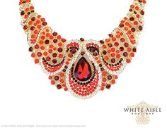 Red Bridal Jewelry Set Crystal Statement by WhiteAisleBoutique