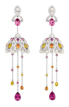 Chanel Secrets D'Orient Coupoles Earrings in 18 karat white gold, diamonds, cultured pearls, rebellites, pink tourmalines, garnets and citrines.