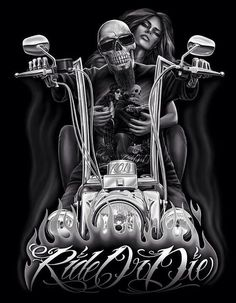 Ride or Die Biker themed Tattoo Inspiratitions. Old school vintage styled biker tattoos Biker Tattoos, Skull Tattoos, Motorcycle Art, Bike Art, Fantasy Anime, Fantasy Art, Art Harley Davidson, Arte Lowrider, Aztecas Art