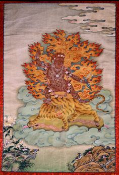 Dorje Drolo on a flying pregnant tigress one of the 8 manifestations of Guru Padmasambhava - a Tibetan feiry fierce form.