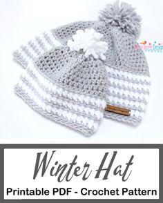 Make a cozy winter hat. winter hat crochet patterns - crochet pattern pdf - amorecraftylife.com #crochet #crochetpattern