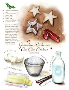 Custom watercolor recipe illustrations created for your by CarynDahm on Etsy