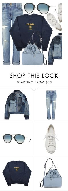 """Blue Day"" by smartbuyglasses-uk ❤ liked on Polyvore featuring Dolce&Gabbana, Current/Elliott, Ray-Ban, Santoni, Chanel, Miss Selfridge and Blue"