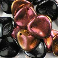 Czech glass rose petals in Jet Sunset, 14mm x 13mm. Petal-shaped drop beads, part opaque black, part iridescent copper and pink. UK seller.