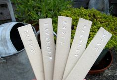 Ceramic Garden Labels Tags Markers  Herbs by judeallman on Etsy, £12.50