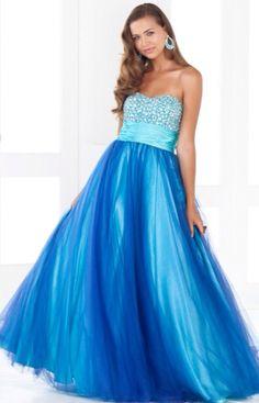 Long light and dark blue dress