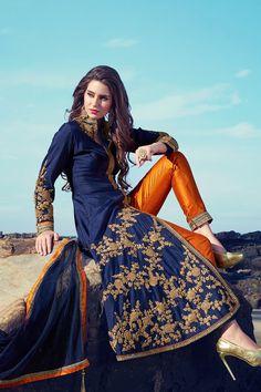 Blue refined raw silk straight cut salwar with full sleeves-SL5989