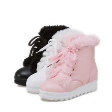 Winter Womens Hidden High Wedge Heel Lace up Platform Ankle Boots Furry Shoes Sz