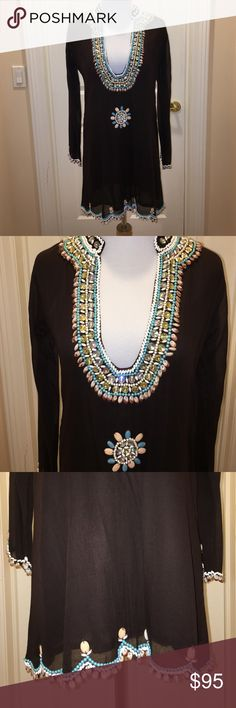 Taj Sabrina Crippa Brown Beaded Tunic Cover Up S Taj by Sabrina Crippa NWOT Brown Beaded Tunic Cover Up Sz S, does not have price tag but has the extra bead bag still hanging off label, never worn, fully lined, 100% cotton, can be worn as Tunic or Cover Up, beautiful Beaded detailing, scallop cut bottom, think retail was $325, listing as Urban Outfitters for exposure Urban Outfitters Tops