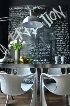#interior #styling #dining #decor #modern #industrial #chalkboard #lamp #chairs
