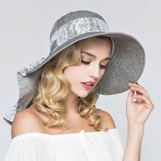 e41b413311525 Lace sun protection hat for women summer UV wide brim sun hats