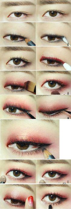 koreanisches Make-up-Tutorial -., koreanisches Make-up-Tutorial -. koreanisches Make-up-Tutorial. Korean Makeup Tips, Korean Makeup Look, Korean Makeup Tutorials, Korean Beauty, Red Eye Makeup, Makeup Eyeshadow, Eyeshadow Palette, Hair Makeup, Sparkle Eyeshadow