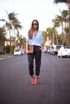 button down shirt with sweat pants