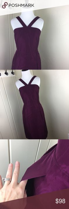J. Crew purple plum halter formal bridesmaid dress Brand new with tags! Size 12. The 'J. Crew' has been marked through on the size tag. This gorgeous semi formal dress has pockets! Beautiful material and a zipper back. Very flattering and such a gorgeous color. J. Crew purple plum halter formal bridesmaid dress. J. Crew Dresses Wedding