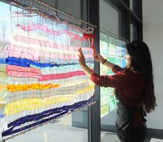 The Ribbon Window Shade is a good way to explore the art of weaving. Two tension rods, vertically strung wires, and weave in fabric of any width, ribbons, threads, yarns, whatever. It also provides some shade during the sunny weather that should be on its way soon!
