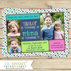 Joint birthday invitation double birthday by ahalyadesignstudio twin joint or sibling photo birthday invitation you print stopboris Image collections