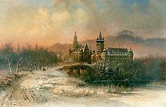 Pieter Francis Peters - Evening in Hohenloh Neuenstein in winter