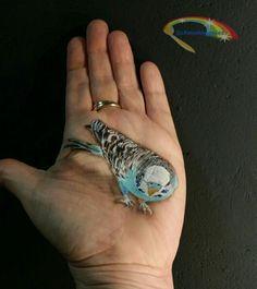 Parkiet geschminkt door Schminkkoppies.  Parakeet painted by Schminkkoppies.