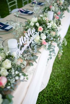 Head table decoration with flowers and candles at our wedding in head table flower and candle decoration at our wedding 31 dec 14 in zimbabwe photo junglespirit Choice Image