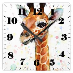 Giraffe Baby Square Wall Clock