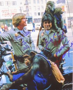 "Adorable Jon and Ponch with chimps and monkeys from ""Trained for Trouble"" Chip Costume, Larry Wilcox, 80 Tv Shows, The Originals Show, Fact Families, Dumb And Dumber, Movie Tv, Chips, Monkeys"