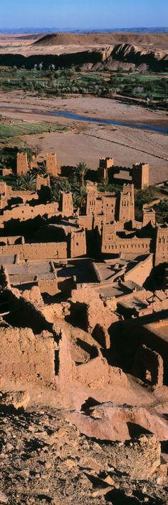 The Kasbah of Aït-Ben-Haddou is a fortified city, or ksar, along the former caravan route between the Sahara and Marrakech in present-day Morocco.  It has been a UNESCO World Heritage Site since 1987, and several well-known films have been shot there.  by Hervé Sentucq