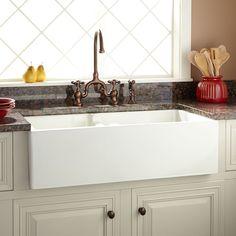 """36"""" Risinger 60/40 Offset Bowl Fireclay Farmhouse Sink - Smooth Apron - White - Farmhouse Sinks - Kitchen Sinks - Kitchen"""