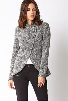 Tweed Cutaway Jacket | LOVE21 - 2019572282