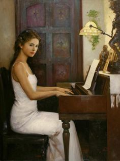 Romantic Paintings of Women By: An He, Title Unk. Beautiful lady at the piano. Romantic Paintings, Beautiful Paintings, Piano Girl, Fine Arts College, Poster S, Wow Art, Guangzhou, Woman Painting, Art Plastique
