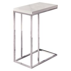 "Moanrch C Shape Metal Accent Table - White $82   25"" H x 10"" W x 20"" D"