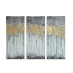 Madison Park Forest Gel Coat Canvas with Gold Foil Embellishment Wall Art in Grey (Set of 3) - www.BedBathandBeyond.com