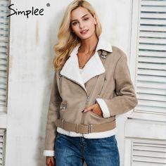 Amazing Deal $34.99, Buy Simplee Leather suede lamb fur jacket coat women Faux suede jacket belt turn-down winter coat female Casual zipper moto overcoat