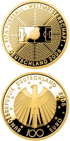 100 euro: FIFE-Fußballweltmeisterschaft Deutschmark 2006.Country:Germany Mintage year: 2005 Issue date: 04.10.2005 Face value: 100 euro Diameter: 28.00 mm Weight: 15.55 g Alloy: Gold Quality: Proof Mintage: 350,000 pc proof Design: Heinz Hoyer, Erich Ott Mint: A,D,F,G,J Issue price: 222,00 Euro #GoldCoins
