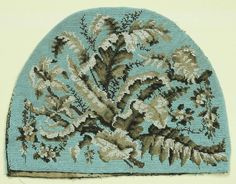 An antique mid 19th century beadwork tea cosy in light blues and greys, with a design of ferns & flowers. This piece is all beadwork and comprises the back & front beaded panels but no lining or edging cord, the padded lining having been removed at some time. | eBay!