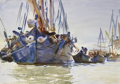 Italian sailing Vessels at Anchor. John Singer Sargent, year unknown. Watercolour over indications in graphite on rough paper.