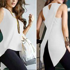 Fashion Plain Irregular Split T-Shirt – Ratecute African Wear Dresses, Latest African Fashion Dresses, Latest Fashion For Women, Trendy Fashion, Womens Fashion, Classy Outfits, Chic Outfits, Fashion Outfits, Blouse Designs