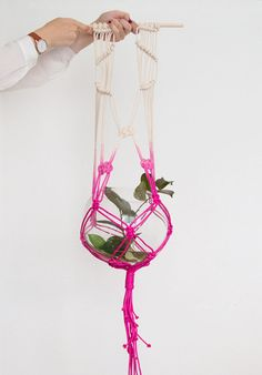 Pink macrame plant hanger, dyed plant hanger, pot plant holder, plant hanging basket, rope pot planter, indoor planter, terrarium holder