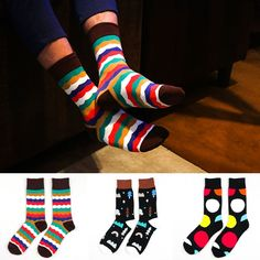 high quality christmas sock men color rush style hiphop fashion casual sock for male long socks with colorful dot wavy tube sox