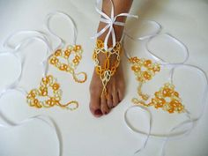 Barefoot sandals tatting Heart - for her