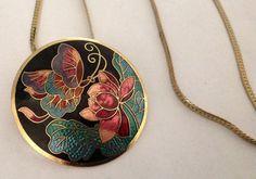 Vintage Cloisonné Enamel Butterfly Necklace. by VintageVelvetBox on Etsy https://www.etsy.com/listing/197282854/vintage-cloisonne-enamel-butterfly