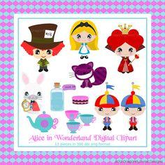 Alice in Wonderland Digital Clipart Collection by Dragonflytwist, $5.00