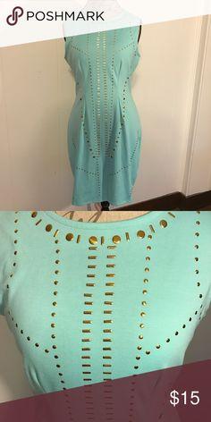 Body con dress Nicki Minaj body con dress, teal with gold detailing. NWOT nicki minaj Dresses Midi
