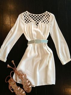 Super cute white dress!