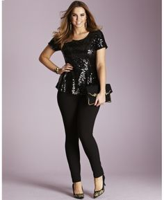 Sequin Peplum Blouse at Simply Be
