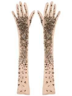 A.F.VANDEVORST - EMBROIDERED STRETCH TULLE LONG GLOVES - LUISAVIAROMA - LUXURY SHOPPING WORLDWIDE SHIPPING - FLORENCE
