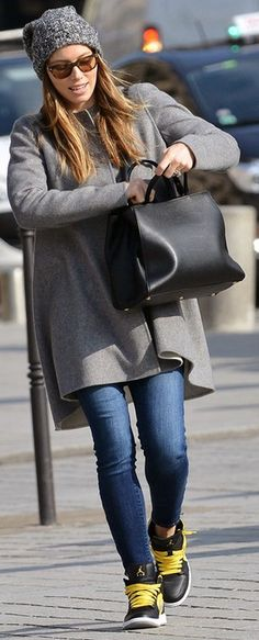 Who made  Jessica Biel's black handbag, gray knit hat, and sneakers that she wore in Paris on February 26, 2013?