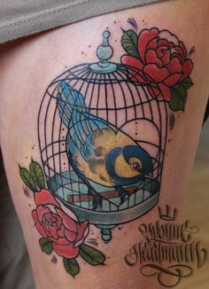 Tit bird :) #bird #tattoo #cage #birdcage #birdtattoo #oldchool